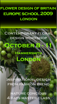 Contemporary floral design workshop London, nature concious master class